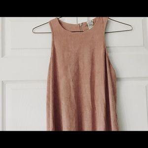 Paper crane suede dress